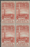 AUS SG275 3½d Brown-Red Telegraph System Centenary block of 4